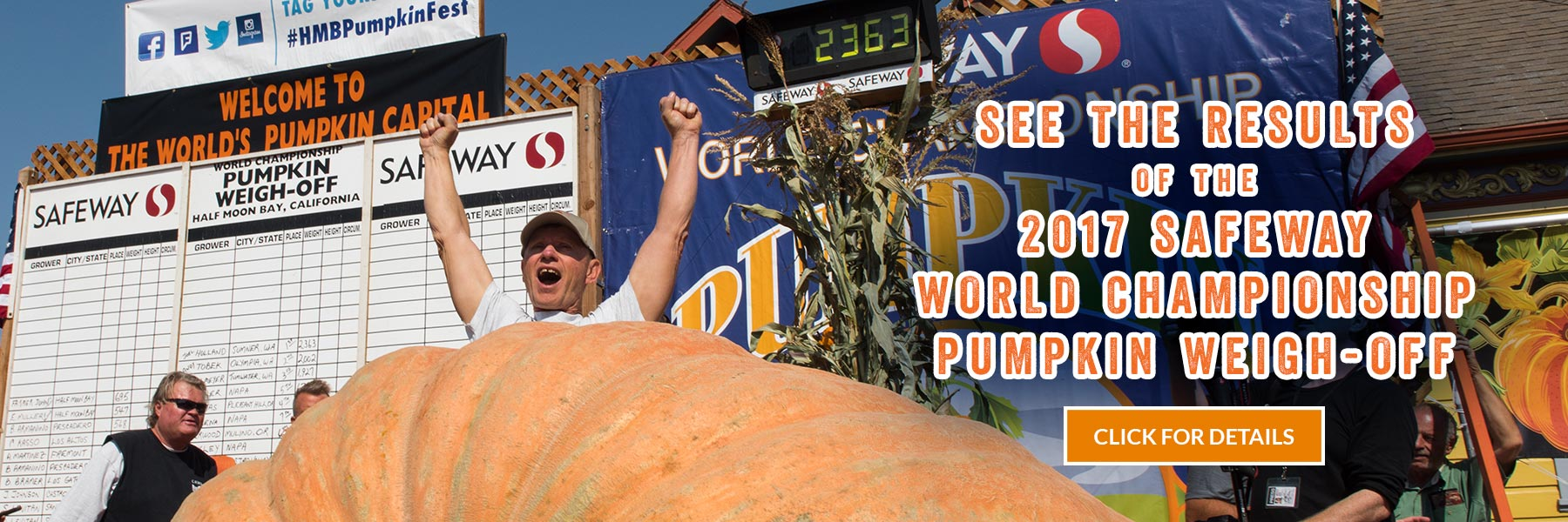 See the results of the 2017 Safeway World Championship Pumpkin Weigh-Off - click for details