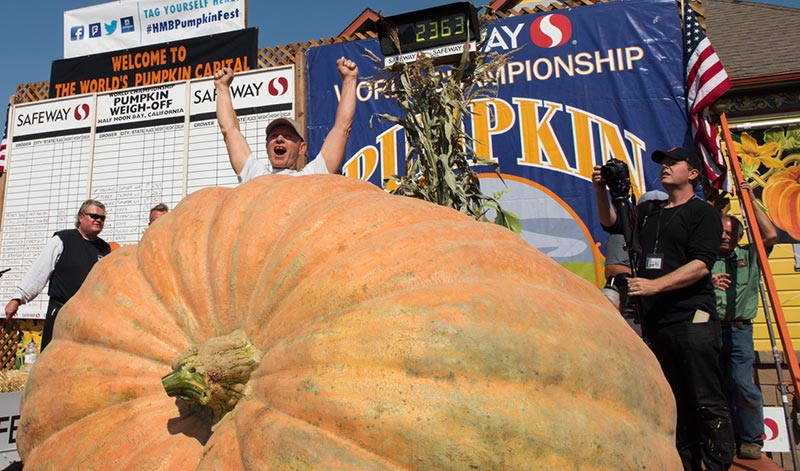 2017 Safeway World Championship Pumpkin Weighoff winner Joel Holland