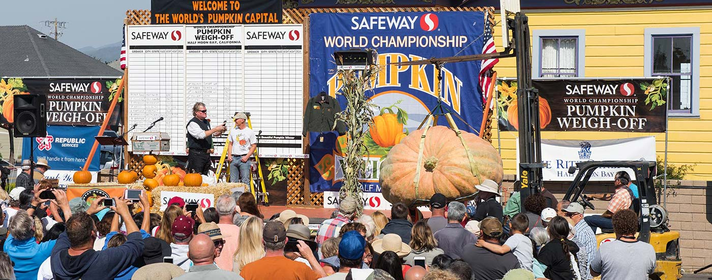 Pumpkin Weigh-Off in progress with crowd and media looking on