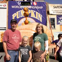 2012 winner Thad Starr and family with his grand champion pumpkin